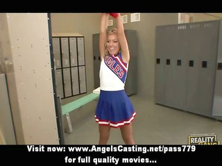 captivating blond legal age teenager cheerleader