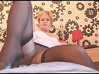 breasty aged hottie in pantyhose nylons and slide