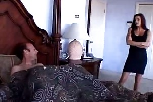 dark brown cougar takes on a mother of a boner