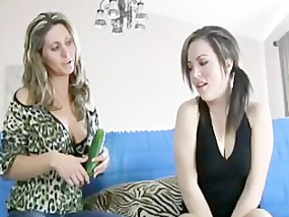 stepmom shows her cute stepdaughter how to gag on