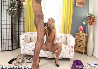 whiteghetto golden-haired cougar receives a large