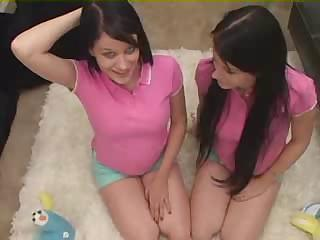 twins - legal age teenager sisters being taught
