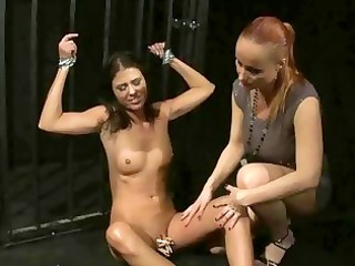 mature femdom-goddess playing with her juvenile