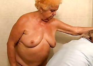 aged bathing granny previous to getting drilled